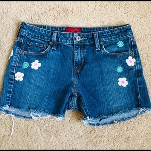 Upcycled Levi's Floral Cutoff Denim Short Shorts 8